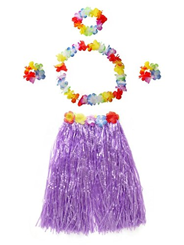 Hula Halloween Skirt (CISMARK Halloween Hawaiian Hula Grass Skirt for Lady (Purple 31.5