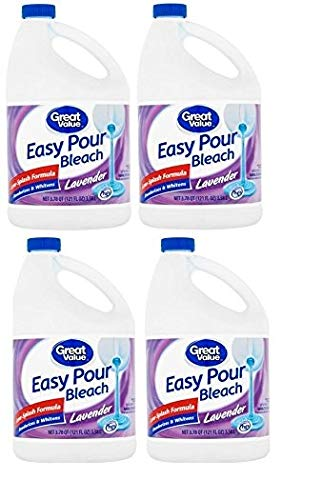 Great Value Easy Pour Bleach, Lavender Scent, 121 fl oz (pack of 4)