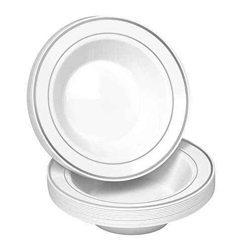 50 Disposable White Silver Rimmed Plastic Soup Bowls | 14 oz. Premium Heavy Duty Disposable Dinnerware with Real China Design | Safe & Reusable (50-Pack White/Silver Trim) by Bloomingoods (Fancy Bowls)