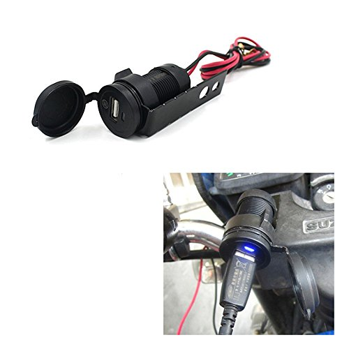 Price comparison product image DLLL Waterproof 12V Motorcycle Car ATV Cigarette Lighter Socket Mobile Phone USB Charger Integrated Power Adapter Mount Bracket for Cellphones,GPS,Tablets MP3 player camera