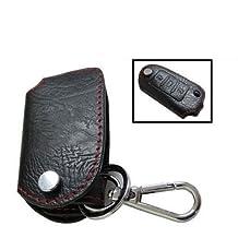iJDMTOY Genuine Leather Remote Smart Key Fob Case Holder Cover For Volkswagen Golf Gti Jetta EOS, etc