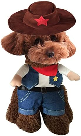 NACOCO Cowboy Dog Costume with Hat Dog Clothes Halloween Costumes for Cat and Small Dog 27
