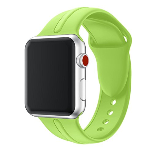 Smart Parts Pants (Apple Watch Band, HANYI Luxury Stainless Steel Watch Band Replacement Strap for Apple I Watch Series 3 (38 MM, Green Silica Gel))