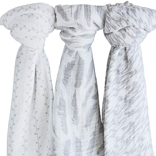 """Ely's & Co Muslin Swaddle Blanket 100% Soft Muslin Cotton 3 Pack 47""""x 47"""" Classic Grey Combo Unisex for Baby Girl or Baby Boy"""