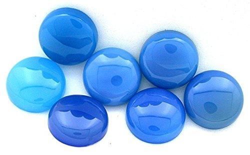 15 Mm Gemstone - TWO 15mm Round Blue Agate Cab Cabochon Gem Stone Gemstone BAC5