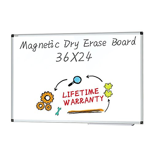 Dry Erase board - Magnetic Whiteboard Large White Board, Wall Mounted Dry Erase Board Aluminum Framed Erase Board with Detachable Marker Tray (36x24) by maxtek