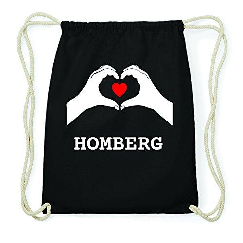 JOllify HOMBERG Hipster Turnbeutel Tasche Rucksack aus Baumwolle - Farbe: schwarz Design: Hände Herz