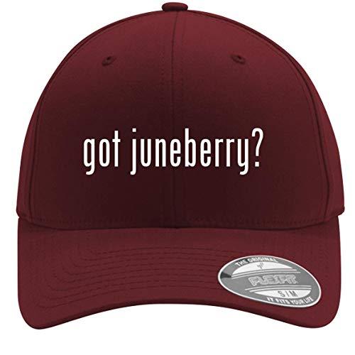 got juneberry? - Adult Men's Flexfit Baseball Hat Cap, Maroon, Small/Medium (Bright Starts Juneberry Delight Walk A Bout)