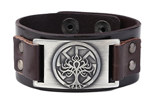 (Wristband Cuff Leather Bracelet Men Vintage Punk Slavic Tree of Life Seal Charm Adjustable Cuff Studded Hidden Snaps (Antique Silver,Brown))