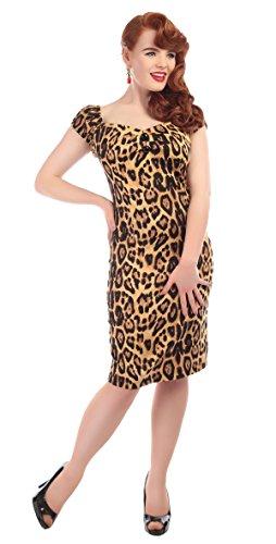 Pencil Collectif Dolores Kleid Braun Dress Damen Leomuster Leopard Feral Schwarzes Hr6rxXAqw
