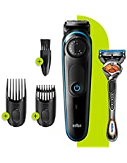 Braun Beard Trimmer BT3240, Trimmer and Hair Clipper for men, 39 Length Settings, Black/Blue