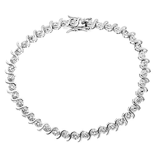 - JewelExclusive Sterling Silver 1/4 cttw Natural Round-Cut Diamond (J-K Color, I2-I3 Clarity) Bracelet,7