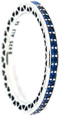 Radiant Hearts of PANDORA Ring, Princess Blue Enamel & Royal Blue Crystals 191011NCB-54 EU, 7 US