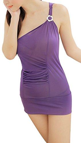 Paplan Un hombro mono del vestido de la ropa interior de las mujeres Morado