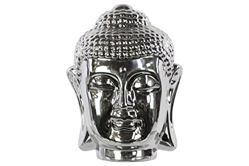 Urban Trends Polished Chrome Finish Silver Ceramic Buddha Head with Rounded Ushnisha by Urban Trends