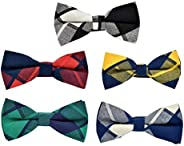 MENDENG Men's New 5 Pack Cotton Adjustable Pre-Tied Plaid Stripe Bow Ties Bo