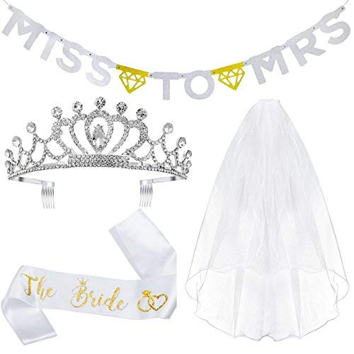 Unomor Bachelorette Party Decorations Kit- Bridal Shower Supplies, Included The Bride Sash, Rhinestone Tiara Crown, Veil with Comb, Glitter Gold and Silver Banner (Miss to -