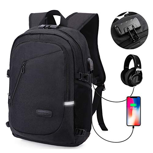 MODAR Laptop Backpack, Anti Theft USB Business Backpack Fits 15.6 inch Computer/Notebook/Tablet with USB Charging Port and Earphone Port, Backpack for Men & Women (15.6'' Upgrade - Es Oxford