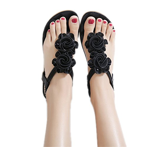 Listawa New Women Summer Casual Bohemia Flat Sandals Shoes Woman Flower Flip Flop Black 5.5