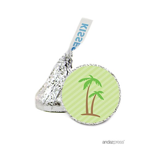 Andaz Press Chocolate Drop Labels Stickers, Wedding, Palm Trees, 216-Pack, For Hershey's Kisses Party Favors, Gifts, Decorations, Tropical, Nautical, Ocean, Paradise Invitation Seals