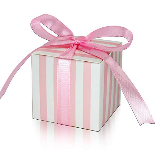 KPOSIYA 100 Pack Candy Boxes Pink and White Striped Favor Boxes 2 x 2 x 2 inch Small  Gift Boxes with Ribbons for Wedding Favors Party Bridal Shower Favors (Pink and White Striped, 100)