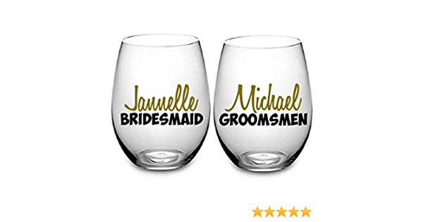 Bridal Party. Hip Flask 3.5 High Bride Wedding Hen Party Decals Gift bags Wine Glass Bridesmaid Stickers