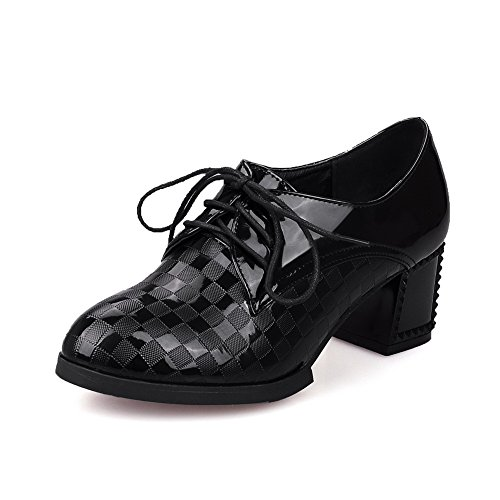 VogueZone009 Women's Lace-up PU Round Closed Toe Kitten-Heels Solid Pumps-Shoes Black ALAvI6W