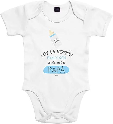 SUPERMOLON Body bebé algodón Soy la versión mejorada de mi papá 3 ...