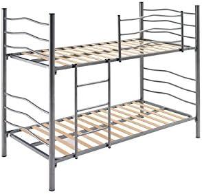 Abitti Litera con somier montado en Color Plata con Escalera, barandilla y pie Reforzado, Medida 90x190 cm. Fabricación Nacional