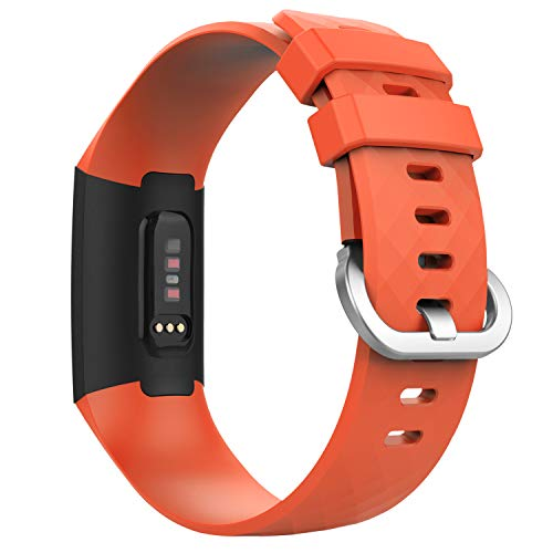 MoKo Band Compatible with Fitbit Charge 3, Soft Silicone Adjustable Replacement Sport Strap Band Fit Fitbit Charge 3 Heart Rate + Fitness Wristband - Orange