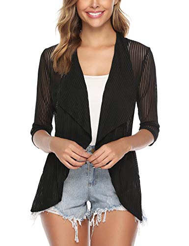 (iClosam Women 3/4 Sleeve Open Front Lightweight Sheer Cardigan Sweater Black)