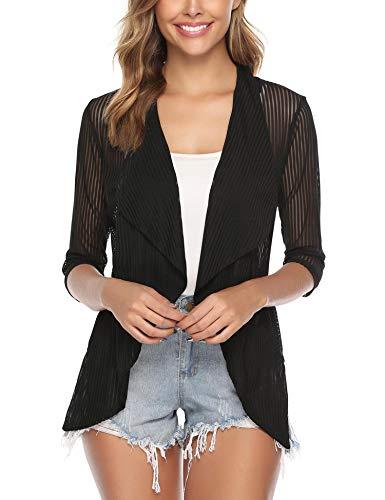 iClosam Women 3/4 Sleeve Open Front Lightweight Sheer Cardigan Sweater - Half Sleeve Sweater
