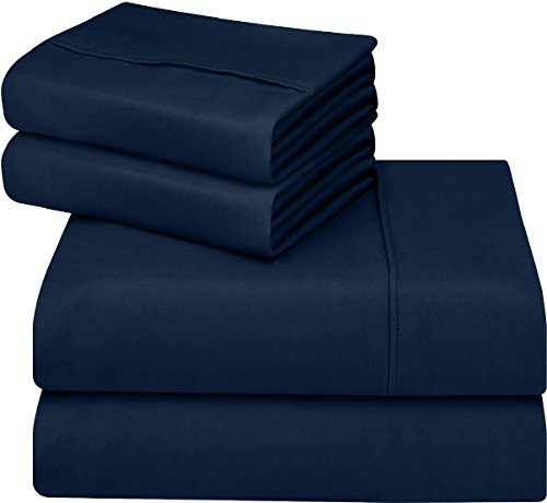 Utopia Bedding Soft Brushed Microfiber Wrinkle Fade and Stain Resistant 4-Piece King Bed Sheet Set - Navy (Bedding King Navy Size Blue)