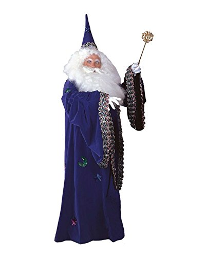 [Men's Deluxe Merlin Costume Robe and Hat One Size (Purple)] (Dumbledore Costume Ideas)