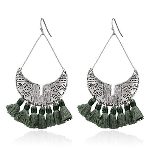 ic Chandelier Tassel Hoop Earrings Shield Paddle Lightweight Statement Earrings for Women (Deep Green) ()