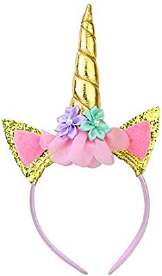 Shiny GOLD Unicorn Glitter Ears Flowers Headwear Headband For Grils Party Decora