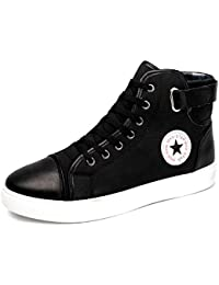 Sapatos Tenis Masculino Male Autumn Winter Front Lace-Up Leather Ankle Boots Shoes Man Casual High Top Canvas...