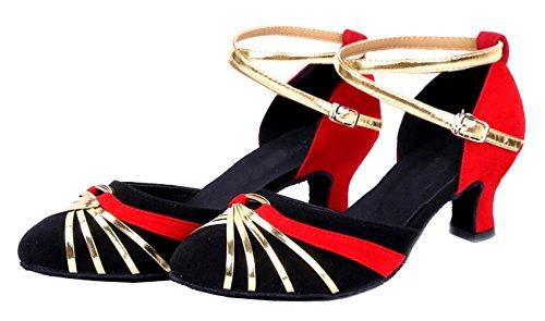 De Chaussures Honeystore md Bride Femme Daim Danse Contrastantes Cheville En Pour Avec qHnE1Tnw6