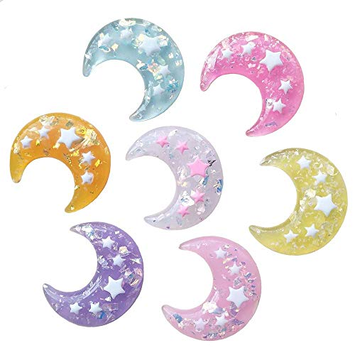 Qingxi Charm 14pcs Mixed 7 Colors Shiny Moon Flatback Resin Button Christmas DIY Craft Phonecover Scrapbook Embelishment (Mixed 7 Colors)
