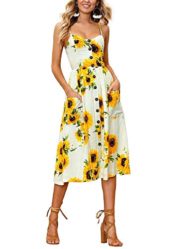 SWQZVT Women's Dress Summer Spaghetti Strap Sundress Casual Floral Midi Backless Button Up Swing Dresses with Pockets Yellow S