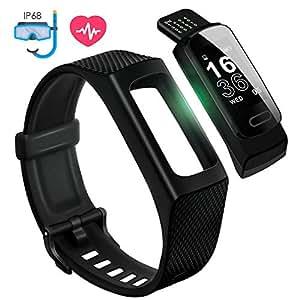 4UMOR Pulsera Actividad Monitor de Ritmo Cardíaco, Pulsera Inteligente de Deporte con Pulsómetro para Fitness Tracker, Monitor de Sueño, Impermeable IP68 con Modo de Natación, para iOS & Android