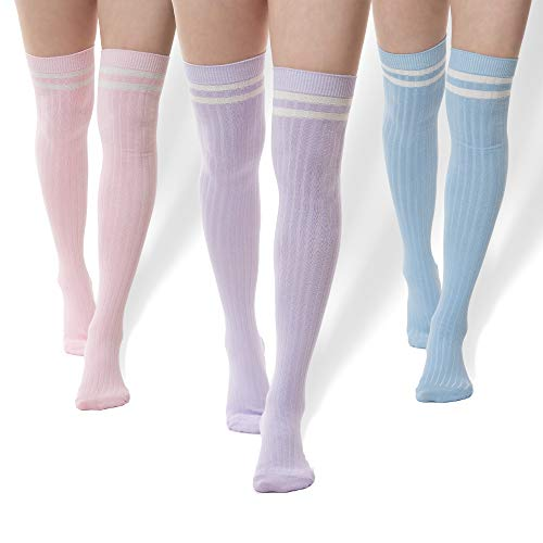 Pack of 3 Striped Thigh High Cable Knit Socks (Pink, Baby Blue, -