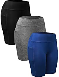 Women's 3 Pack Workout Compression Shorts with Pocket