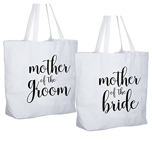 ElegantPark Mother of the Bride + Groom Jumbo Tote Bag for Wedding Gifts Canvas 100% Cotton Interior Pocket White with Black Script 2 ()