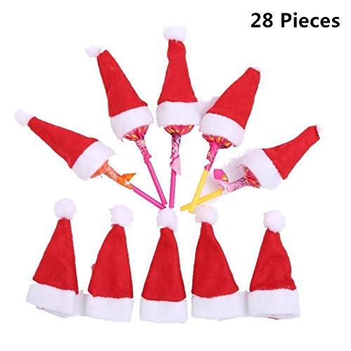 Magnoloran 28 Pieces Mini Christmas Hat Wine Bottle Cover, Santa Claus Cap Lollipop Top Wraps Toppers Decor Santa Hat Chocolate Lollipop Candy Holder Christmas Crafts Accessories Gift Home Decor (Candy Holder Santa)