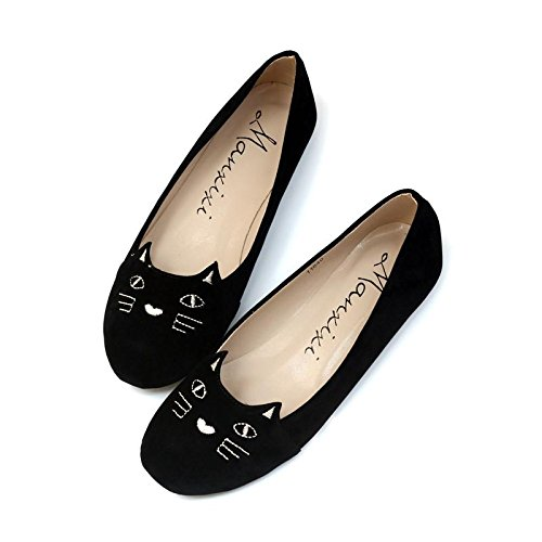 LvYuan-mxx Zapatos de mujer / Primavera verano caída / Casual Dulce y encantador / plano Tacón de punta redonda / Oficina y carrera Vestido / Pisos , 40 , red 35-BLACK