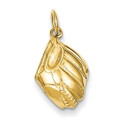 14K Yellow Gold Baseball Glove Charm Pendant
