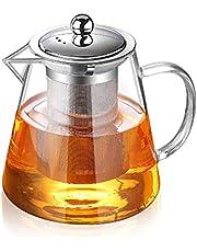 Glass Teapot with Infuser Tea Pot 32oz/43oz Tea Kettle Stovetop Safe Blooming and Loose Leaf Tea Maker Set (43oz/ 1300ml)