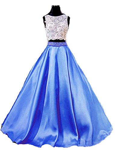 Back BD234 Royal Beads BessDress Blue Open Dresses Piece Dresses Lace Gown Evening Two Prom Ball fzzg7pxq