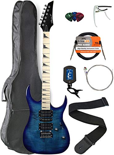 Vault RG1-E Transparent Blue Electric Guitar with Maple Neck Bundle with Gig Bag, Strap, Tuner, Strings, Instrument Cable, Capo, and Picks